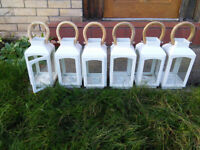 White candle lanterns, set of 6 used once for a Wedding. Suitable for outdoors