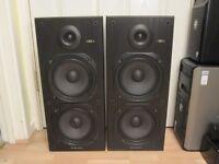 Vintage Wharfedale CRS 7 floor-standing speakers.