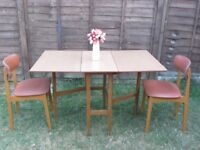 Drop leaf table and retro 2 chairs, dining room furniture