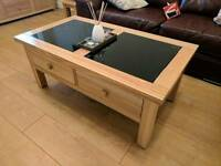 Solid oak 2 draw coffee table