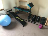 Adjustable dumbbells + weight bench + ab bench and some free weights