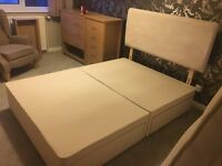 John Lewis Double Divan Bed with 4 Drawers & Luxury Suede Adjustable Headboard