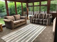 Next® Cost £1800 Matching 2 X 2 Seater Sofas Black & Grey / Mink Good Condition