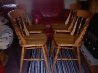 PINE CHAIRS ( 4) ANTIQUE . AND TABLE