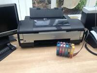 A3 Epson Stylus Photo Printer & Ink Flow System with plates &a stands, cups etc