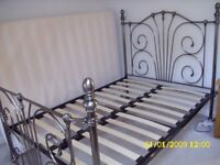 """DOUBLE METAL BED FRAME ONLY SILVER/NICKEL, 4ft.6""""."""