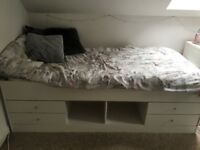 White solid single cabin bed with 4 drawers and mattress