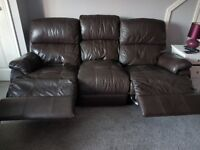 FREE!! Recliner leather 3 seat sofa.
