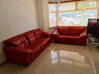 SOFAS: 3 Seater, 2 Seater + 1 Armchair sofa. Real Leather. Quick sale!