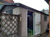 Concrete Garage 22'3 x 12'6. Includes metal up n over door, personal door, 2 windows & 2 rooflights