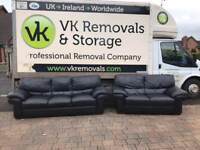 3 and 2 seater sofa in black leather £325
