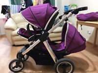 Babystyle Oyster max grape pushchair double seat stroller