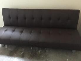 Sofa bed folding dark brown faux leather