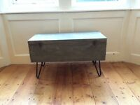 Vintage carpenter's toolbox coffee table with hairpin legs