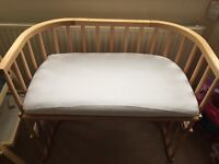 Babybay cosleeping bedside cot with mattress and sheets