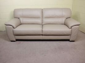 'SHADES' 100% LEATHER 3 SEATER SOFA EX DISPLAY FAMOUS BRAND