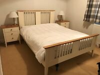 Double bed matching bedside tables and chest of drawers