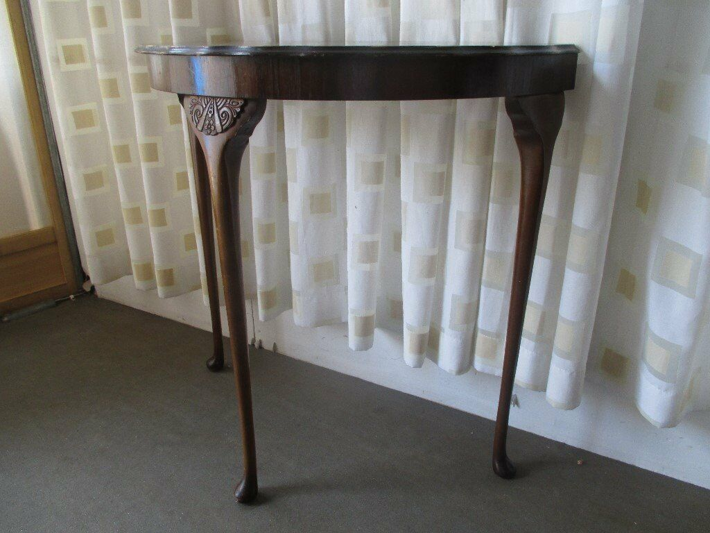 VINTAGE 1930\'s MAHOGANY VENEER HALF MOON TABLE DEMI LUNE TABLE WITH ...