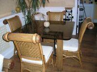 Glass Srikandi Dining Table + 4 Chairs