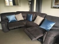 Large greyDFS corner sofa, chair, footstool, electric recliners with USB ports. Excellent condition.