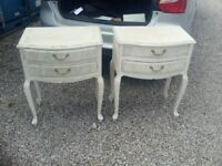 2 shabby chic bedside tables, white in colour