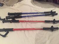 2 pairs adjustable walking sticks