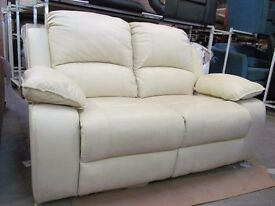 Real Leather 2 Seater Cream Reclining Sofa Settee -DELIVERY AVAILABLE-