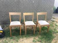 3 Ikea Solid Oak Chairs in Good Used Condition!