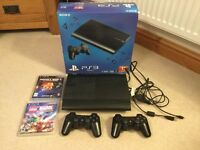 PS3 black Slim Console 12 GB, two controllers, wires and two games - Minecraft & Lego Marvel