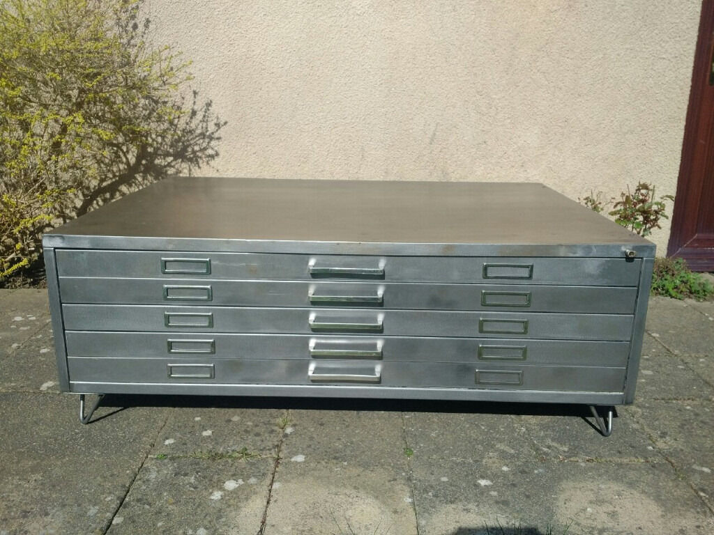 Vintage Retro 1970s Industrial Metal Plan Chest Architects Drawers Coffee Table