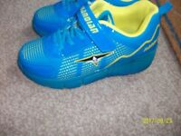 Boys blue yellow light up heely trainers size 3- worn once NG6