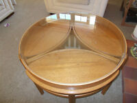 Nathan circular, glass-topped, 1960s coffee table
