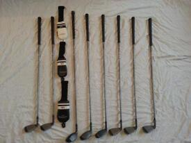 set of 8 golf clubs. Adamsgolf midsize Mitsubishi rayon