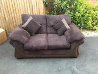 Two Seater Sofa and Footstool - Brown