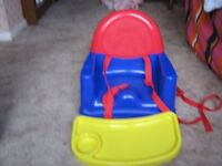 Childs seat for use at dining table or with tray attached