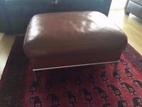Ikea Real Red Leather Footstool