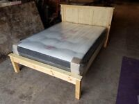 Brand New Rustic Chunky Pine Double Bed complete with Deluxe Deep Tufted Mattress.
