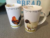 Pair of farmyard mugs/cups
