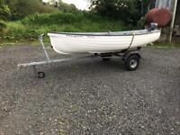 💥🐠12 ft durado fibreglass boat trailer outboard oars