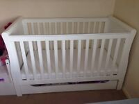 Mothercare sleigh white wood cot bed Rrp £380