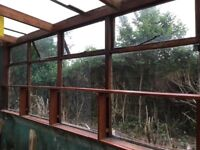 Greenhouse glass windows, plastic roofing shelving