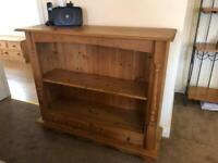 Large solid pine bookcase with two drawers- collect po13