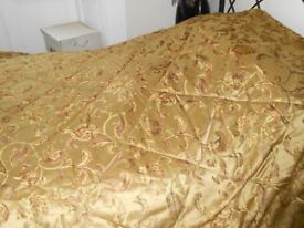 Large gold, patterned Polyester bed-quilt - 254 x 236cm approx