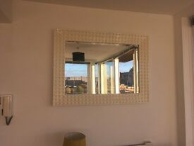 large, cream, retro style mirror