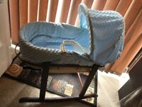 Blue baby moses basket with stand complete £20.