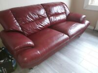 3 & 2 seater Red Leather Sofas