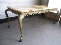 VINTAGE ONYX AND BRASS RECTANGULAR COFFEE TABLE FREE DELIVERY