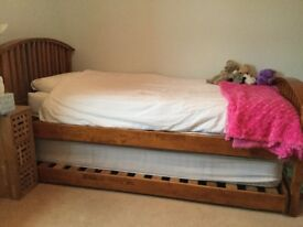 Single cherry bed with guest bed, excellent condition