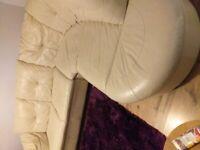Sofa Suite - corner in cream leather