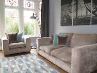 Mink Chenille 3 Seater Sofa, Armchair & Footstool